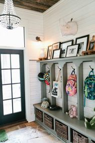 Clasic farmhouse entryway with custom bench, shelf and hooks