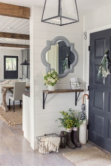 rustic entryway shelf with mirror