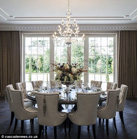 circular table in a formal dining room